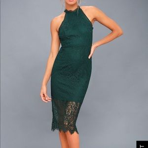 LULU'S GREEN LACE HALTER BODYCON MIDI DRESS